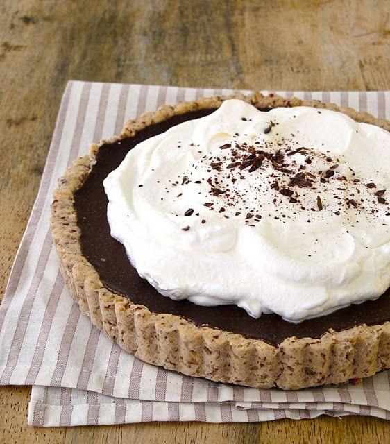 // chocolate cream tart with pecan shortbread crust