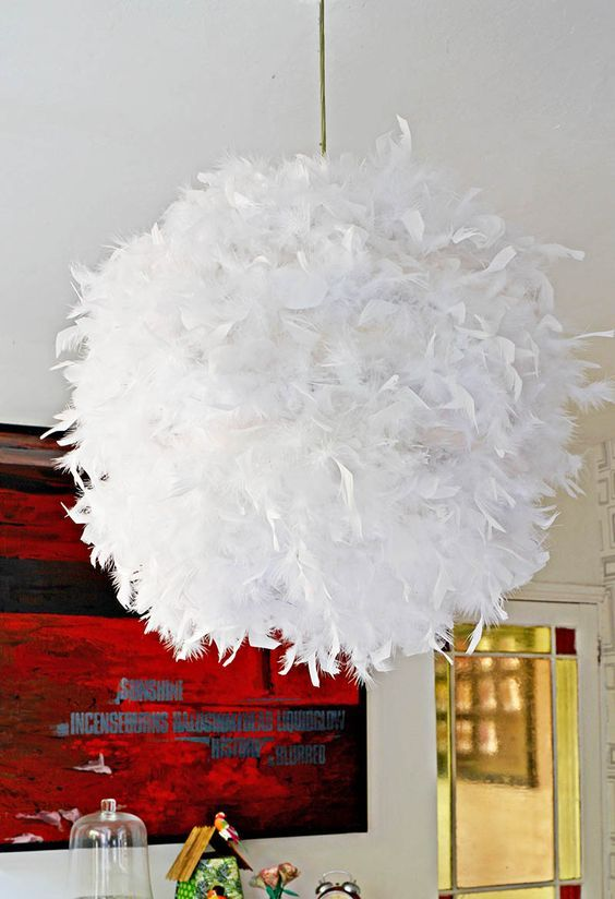 A Simple, Affordable and beautiful DIY Feather Lampshade