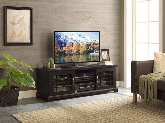 "TV Stand Entertainment Center Cabinet Console Glass Doors 3 Shelves For 70"" TV's #WF #Contemporary"