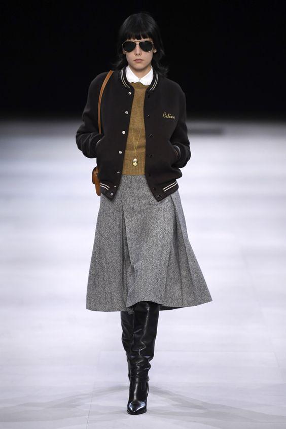 gray wool skirt + bomber jacket