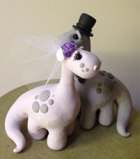 Dino Love Custom Keepsake Wedding Cake Topper by theaircastle