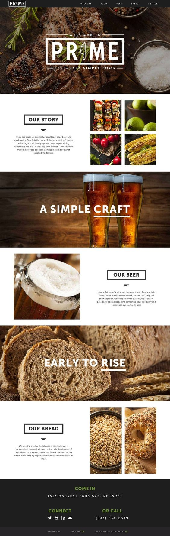 Great looking landing page for a fictitious restaurant called Prime - the purpose being to showcase the development skills on Ryan McHenry. The footer alignment seems off... but good imagery and clean layout.