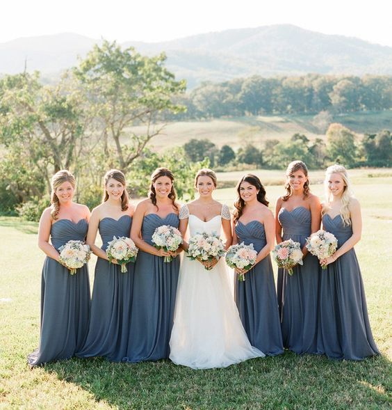 Steel grey/blue bridesmaids dresses - Autumn on the Hill ...