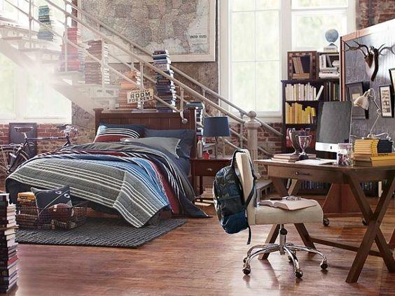 Guirlande Chambre Ado : aménagement chambre ado garçon – mur de brique, coin bureau et …