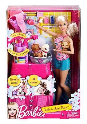 Detalles Acerca De Barbie Suds Hugs Pups Playset Doll 2