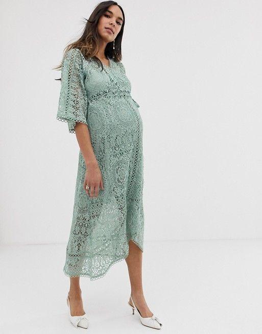 Asos Design Maternity Lace Wrap Midi Dress Asos Maxi Dress Prom Maternity Dresses Dresses