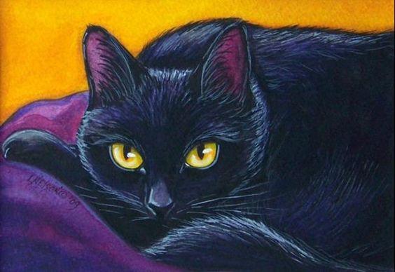 Black+Cat+art | Art: Sleepy but Inquisitive Black Cat Painting by Artist Lisa M ...