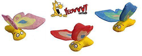 Yeowww Duckyworld 100/% Organic Flower Leaf Catnip Cat Toy Butterflies 1 Toy, Blue
