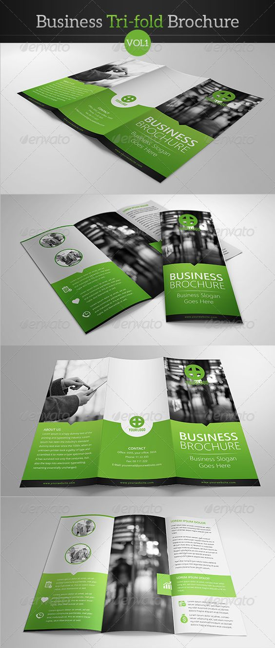 """Business Tri-fold Brochure  #graphicriver I like the blend of curved/circular vs. straight/square and I like the """"invasion"""" or overlap into other spaces of this design.  I love creative coloring outside of the lines."""