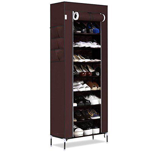 Hindom 610 Tiers Portable Shoe Rack Closet With Dustproof Fabric Cover Shoe Storage Organi Closet Shoe Storage Shoe Storage Cabinet Storage Closet Organization
