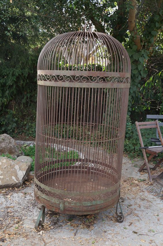 large vintage bird cage vintage birds vintage bird cages and vintage. Black Bedroom Furniture Sets. Home Design Ideas