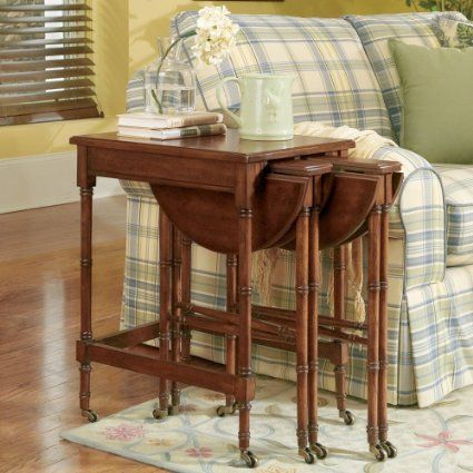 Butler Specialty Plantation Cherry Wood Nesting Tables with Casters. Butler Specialty Plantation Cherry Wood Nesting Tables with