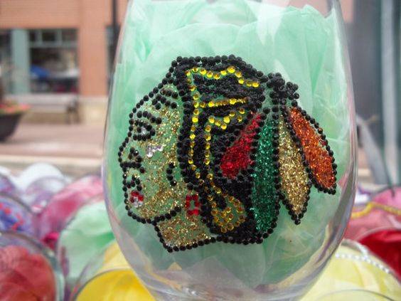 Chicago Blackhawks Rhinestone Wine Glass by ShimmerandBling, $22.00