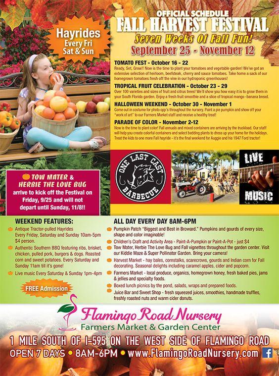 Flamingo Road Nursery Fall Harvest Festival Davie Fl Free Admission Kids Crafts Hayrides Pumpkin Patch More Pinterest Produce Market