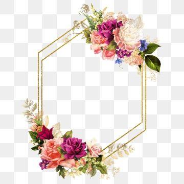 Gold Wedding Frames Watercolor Flowers Flower Frame