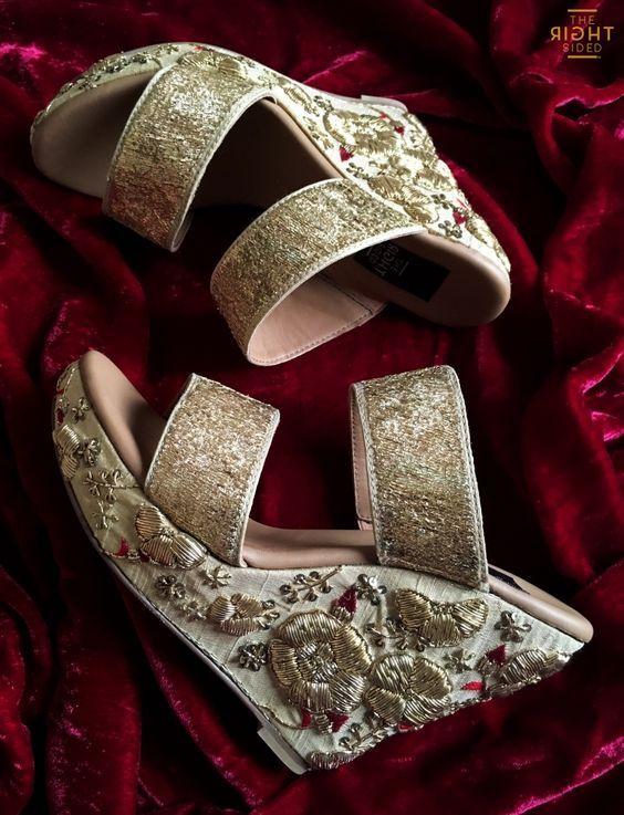 Embellished Wedges Bridal Footwear Designer Bridal Footwear Indian Weddings Elegant And Classy Indian Wedding Shoes Bridal Sandals Heels Bridal Sandals