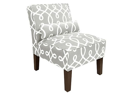 Bergman Armless Chair, Smoke/White on OneKingsLane.com