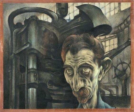 Albert Birkle (1900-1986) | Arbeiter und Maschine | 1922 | Pastell | Kunsthalle Schweinfurt Sammlung Joseph Hierling (Germany)
