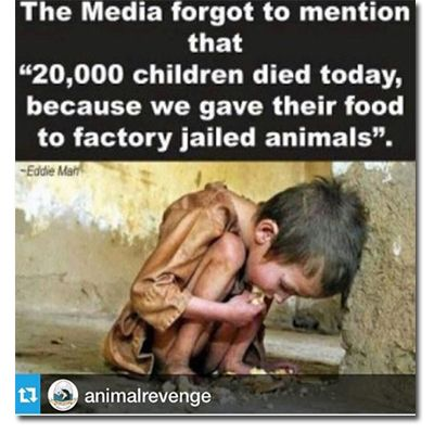 the media forgot to mention that 20,000 children died today because we gave their food to factory jailed animals, please go #vegan: