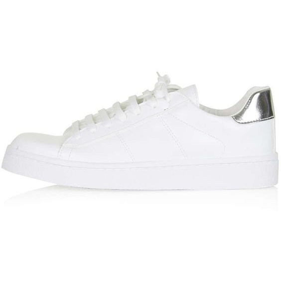 TOPSHOP CONEY Lace Up Trainers (27 BRL) ❤ liked on Polyvore featuring shoes, sneakers, sapatos, topshop, white, laced up shoes, white sneakers, topshop sneakers, laced shoes and lace up sneakers