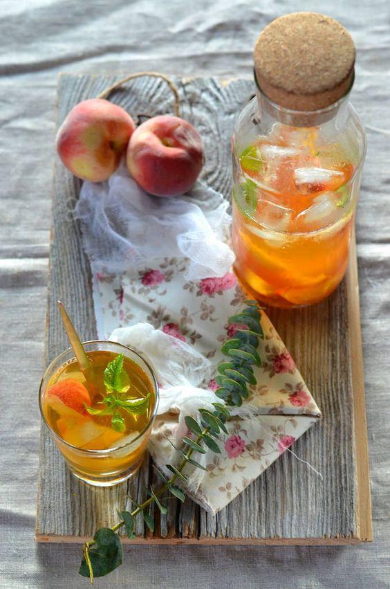 Ice tea maison à la pêche et menthe {vegan & sans gluten}