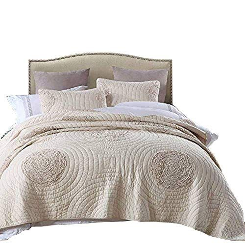 Luxe Bedding Solid Color Lightweight Oversize Cotton Filled Stitch 3-piece Jigsaw Bedspread Coverlet Set Full//Queen, Black