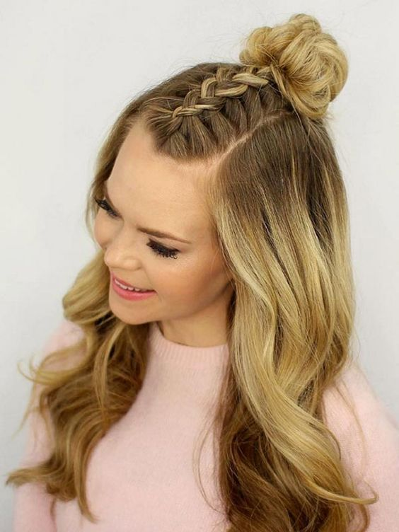 Trendiest Braided Hairstyles 2016: Mohawk Braid Top Knot  #braids #hair #braidedhair: