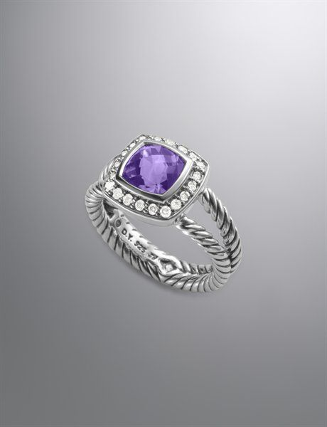 Very popular for East Carolina University grads!  Get a class ring that you'll love...David Yurman Petite Albion ring with Amethyst and Diamonds.  336-721-1768 www.windsor-jewelers.com