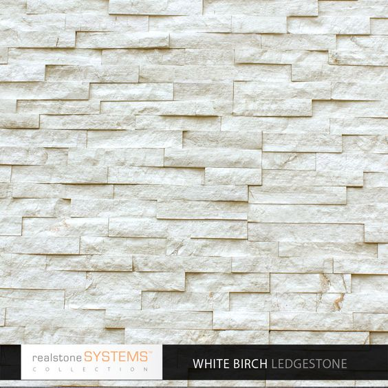 Brick Veneer Collection: Fireplace Tile. White Birch Ledgestone Collection Veneer