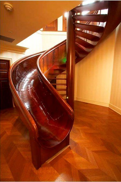 Scott Jones' 28-foot wooden circular mahogany slide took 15 months to build.