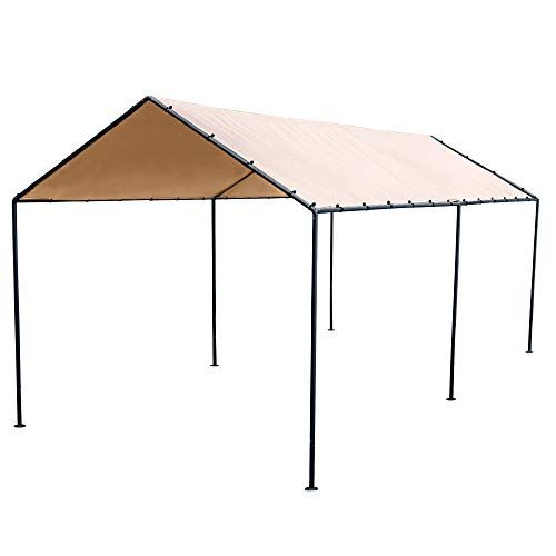 Abba Patio 10 X 20 Feet Light Portable Canopy With 6 Steel Legs Beige Brown Portable Canopy Portable Carport Steel Legs