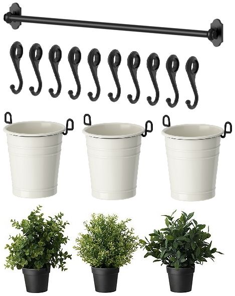 Ikea Poang Chair Good For Back ~ IKEA 22 Rail 10 Hooks 3 Cutlery Caddy Pot 3 Artificial Plants Herb