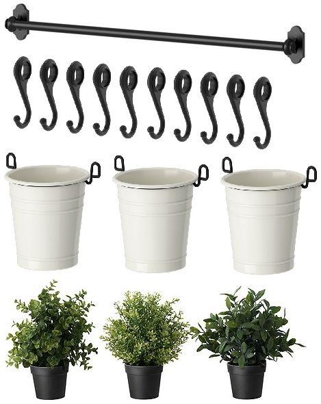 Ikea Flaxa Monteringsanvisning ~ IKEA 22 Rail 10 Hooks 3 Cutlery Caddy Pot 3 Artificial Plants Herb