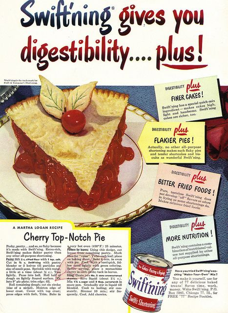 I adore the green veining in the pastry leaves that top this thoroughly inviting looking slice of Cherry Top-Notch Pie. #vintage #food #ad #pie #cherry #dessert #1950s