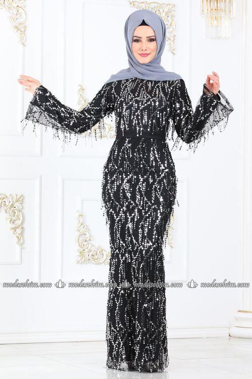 Modaselvim Abiye Payet Puskullu Balik Abiye 81654bn105 Siyah Gumus Elbise Tarzlari Elbise Elbiseler