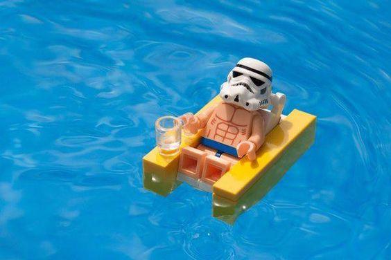 star wars lego. Stormtrooper in pool. summer