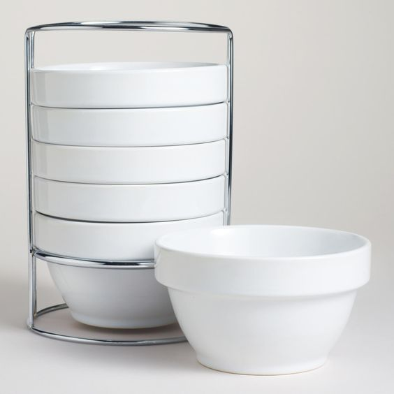 White Stacking Bowl Set Of 6 The O Jays World And Products