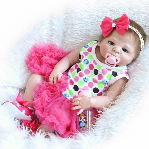 """Newborn 23/"""" Full Body Vinyl Silicone Reborn Girl Baby Doll Lifelike Bath Toy"""