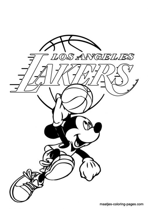 Lakers Coloring Pages La Lakers And Mickey Mouse Coloring Page
