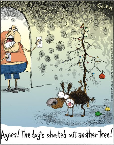 Shorting the Christmas tree. The Flying McCoys on GoComics.com #Christmas #Holidays #ChristmasTree #Humor