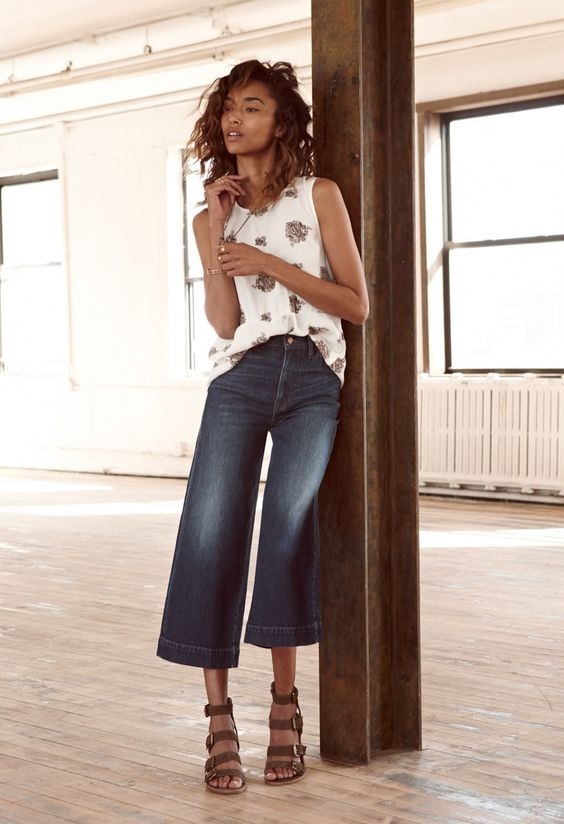 Madewell Ruffle Tank Top in Paisley, Wide-Leg Crop Jeans and Greta Gladiator Sandal