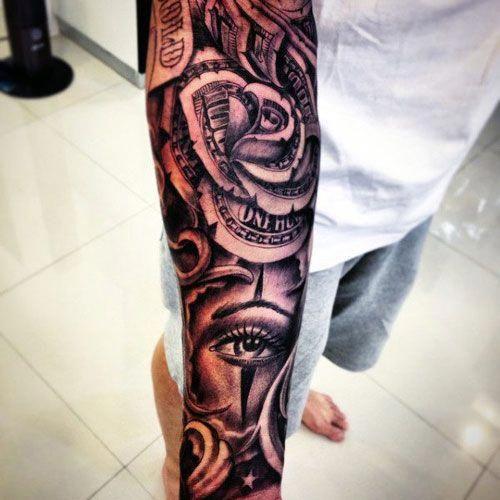Badass Money Sleeve Tattoo Best Money Tattoos Cool Money Bag Dollar Sign Cash Stack And Monopoly Man M Tattoos For Guys Rose Tattoos For Men Money Tattoo