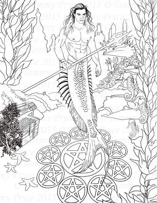 Fantasy Merman Adult Coloring Page Digi Stamp by TammyPryce: