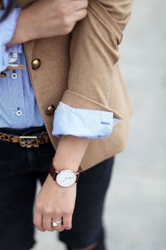 Camel blazer, striped oxford, and leopard belt. Topped off with a DW!