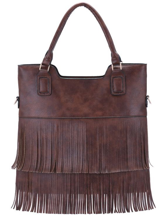 Brown Tassel PU Tote Bag 18.54