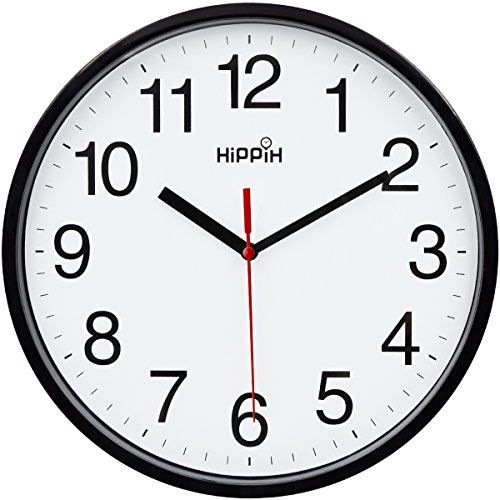 Hippih Black Wall Clock Silent Non Ticking Quality Quartz 10 Inch Round Easy To Read For Hom Black Wall Clock Wall Clock Silent Clock Wall Decor