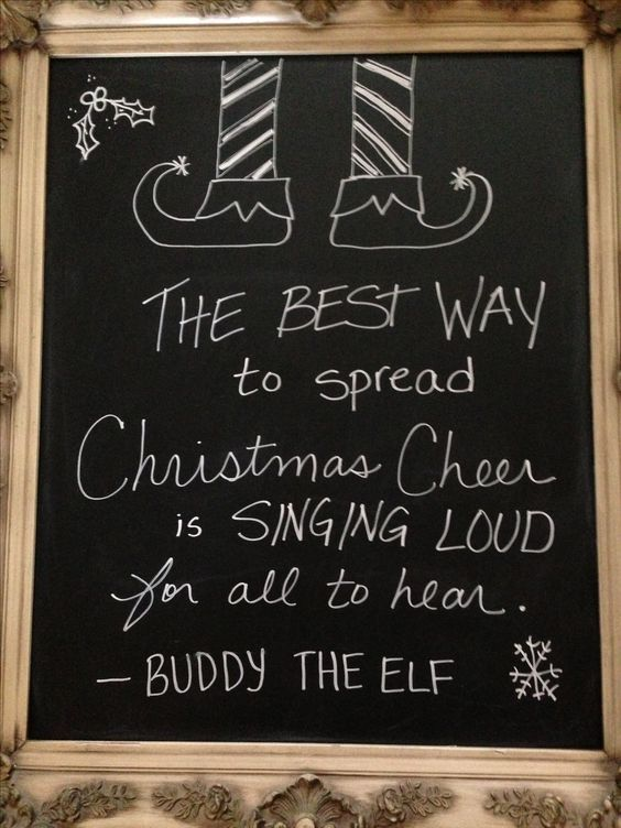 Christmas chalkboard, Chalkboards and The elf on Pinterest