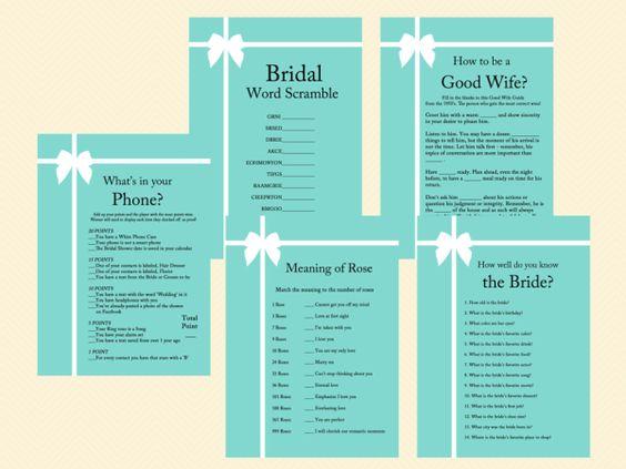 tiffany blue, tiffany bridal shower games, breakfast at tiffanys bridal shower, tiffany blue bridal shower game pack, printable