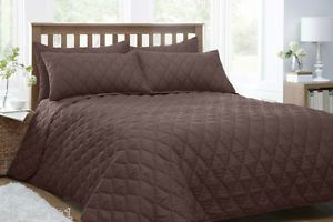 DOUBLE-BED-QUILTED-THROW-OVER-BEDSPREAD-SET-CHOCOLATE-BROWN-PILLOW-SHAMS