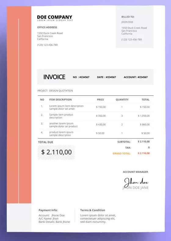 Invoice Business With Red And Grey Accents Template Ai Eps Invoice Template Red And Grey Templates